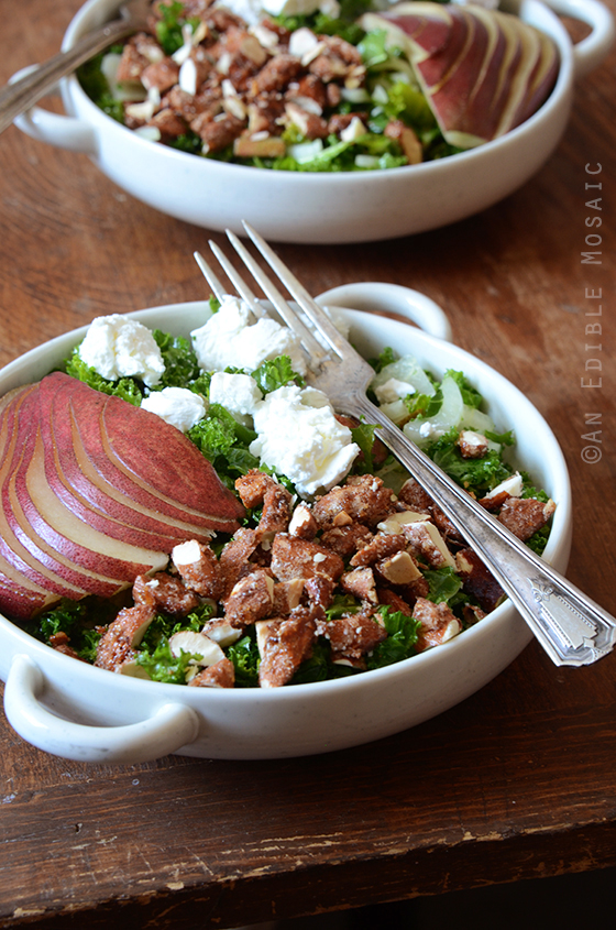 Kale Salad with Red Pear and Candied Almonds 3