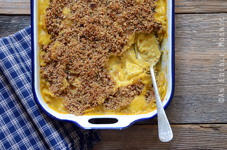 Spiced Pumpkin Mac and Cheese with Brown Butter, Sage, and Pecan Topping 4