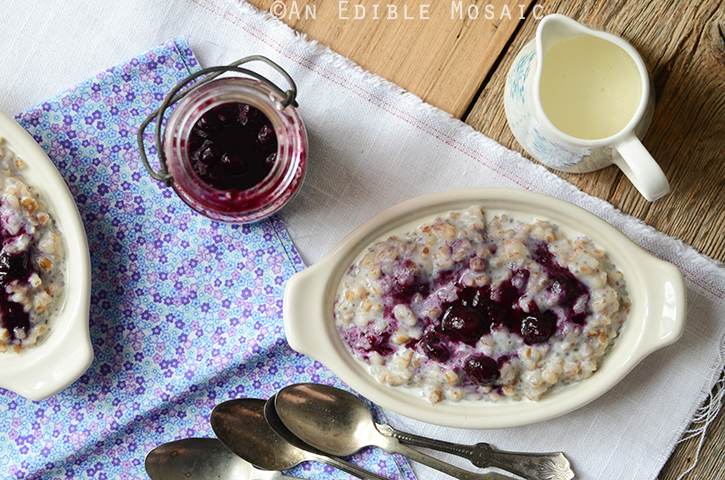 Creamy Wheat Berry Porridge with Gingered Blueberry Topping {Vegan} 4
