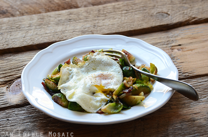 Brussels Sprout and Bacon Hash with Fried Egg 4