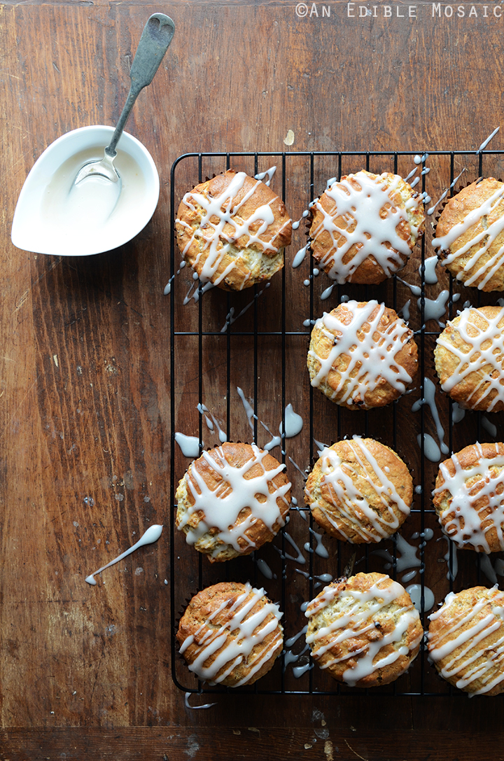 Oatmeal Golden Raisin Muffins with Cream Cheese Glaze {Vegan}
