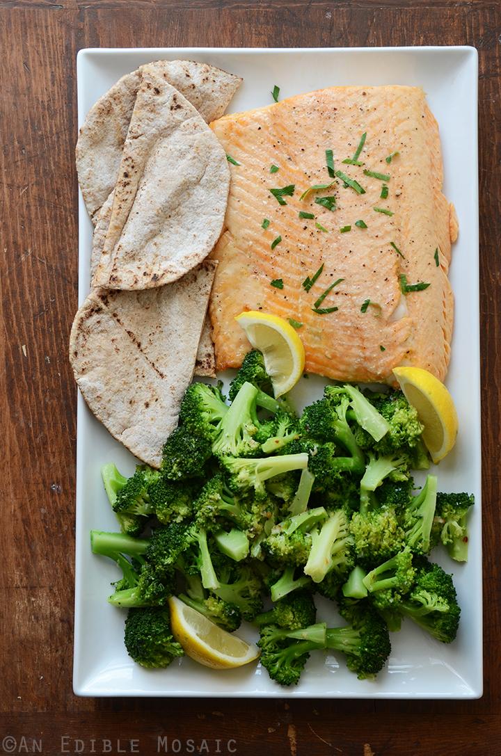 Roasted Salmon with Garlic-Lemon Broccoli