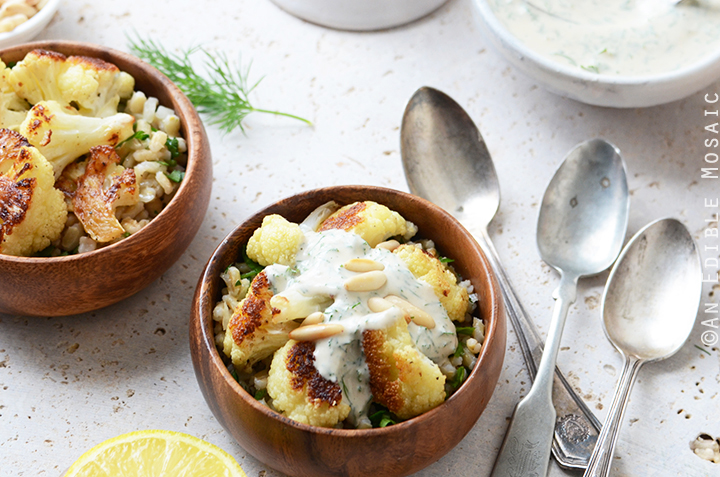 Roasted Cauliflower and Pearl Barley Bowls with Creamy Tahini-Dill Dressing 4