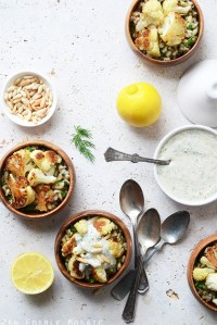Roasted Cauliflower and Pearl Barley Bowls with Creamy Tahini-Dill Dressing
