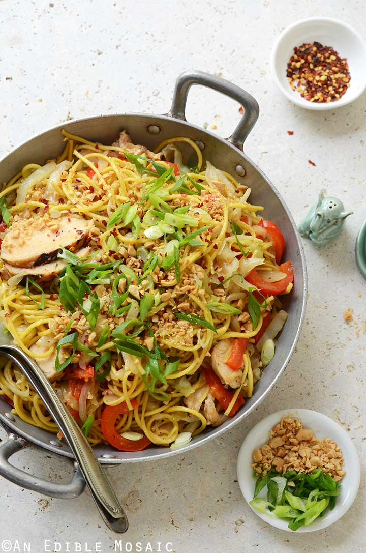 Thai-Inspired Soy Sauce Noodles with Vegetables and Chicken