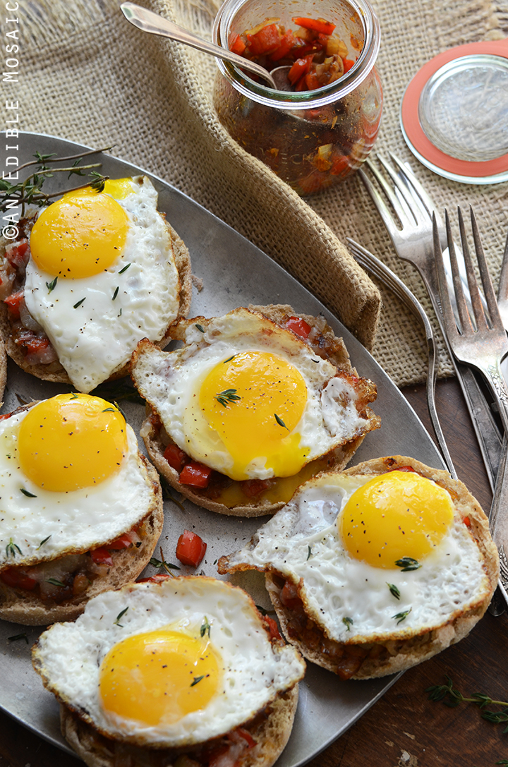 Cheesy English Muffins with Smoky Balsamic Red Pepper Compote and Fried Eggs 3