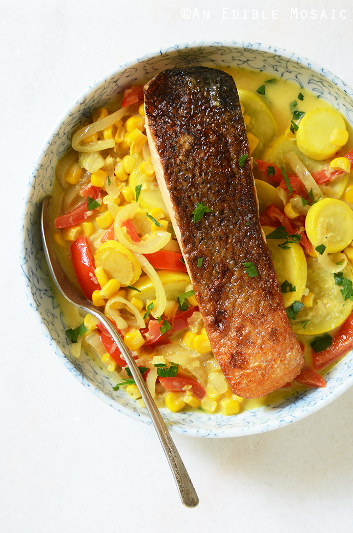 20-Minute Summer Vegetable Curry with Seared Salmon 1