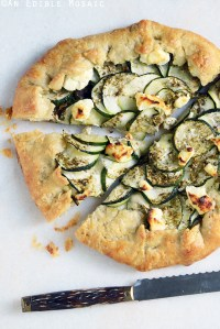 Za'atar and Caramelized Onion Zucchini Galette with Goat Cheese