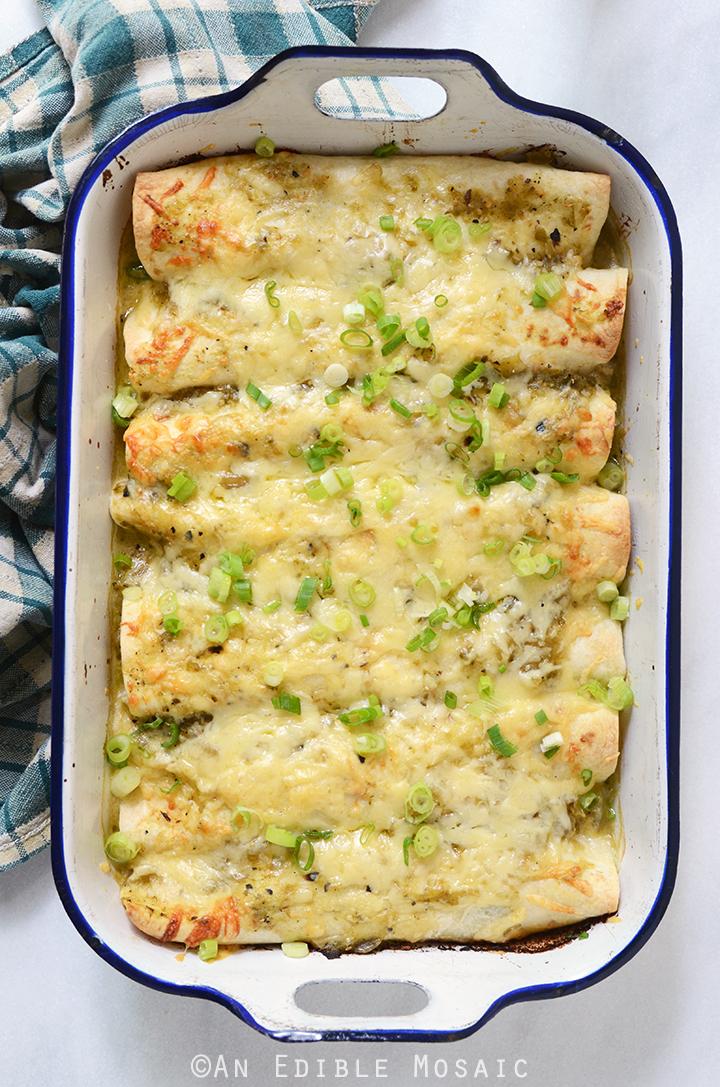 Creamy Chicken and Kale Enchiladas with Salsa Verde 4