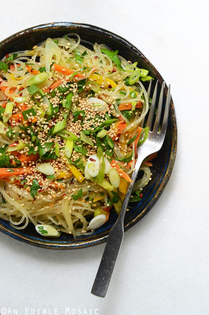 Sesame-Soy Arrowroot Noodles with Stir-Fried Vegetables