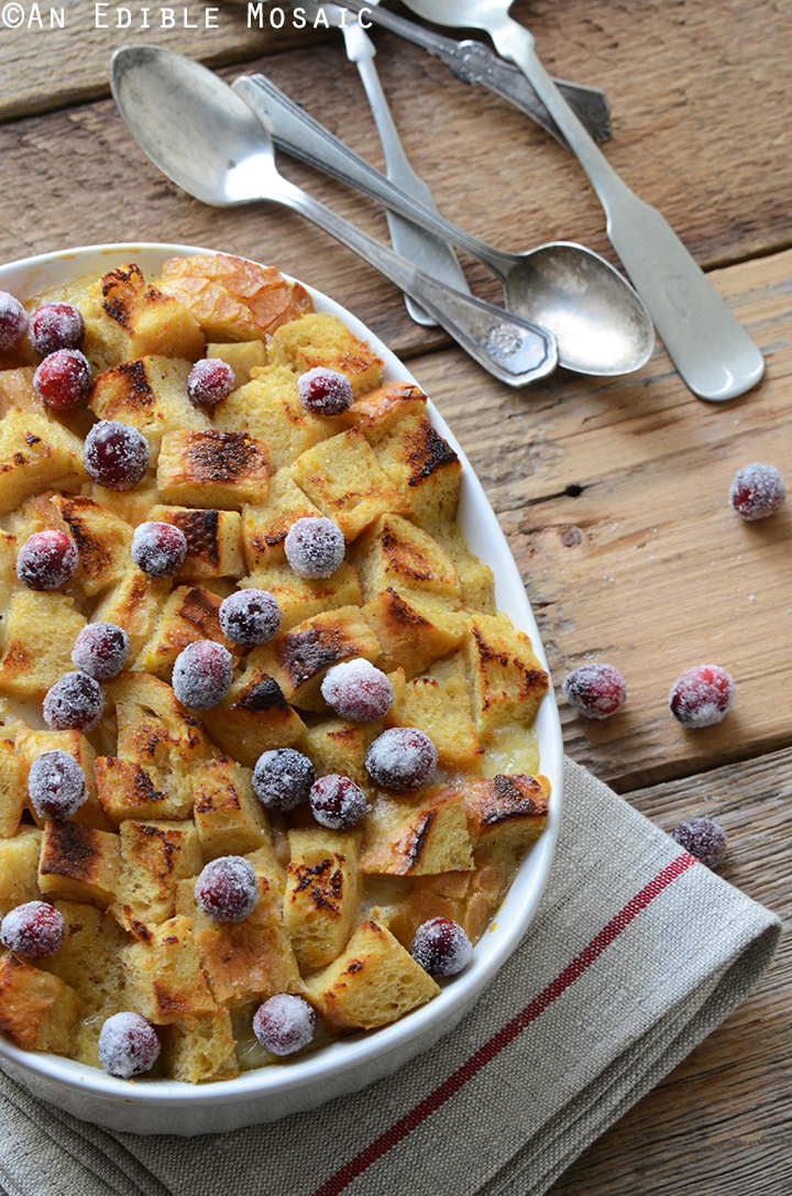 Orange and Nutmeg-Scented Brown Sugar Bread Pudding with Melted Brie and Sugared Cranberries