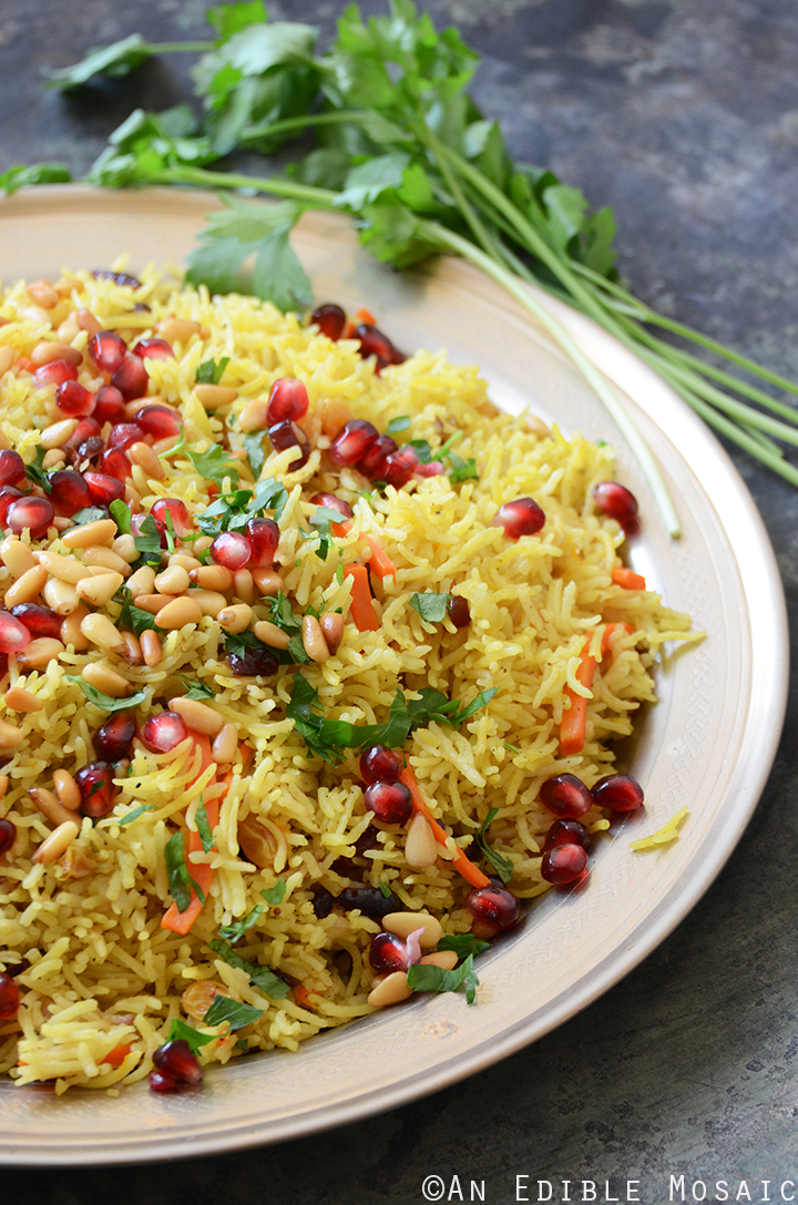 Jewel-Toned Sweet and Savory Basmati Rice Pilaf with Pomegranate 2
