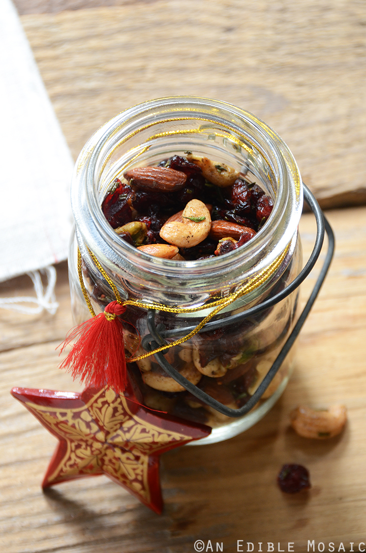 Multiple Servings of Festive Vanilla Bean Mixed Nuts with Rosemary and Cranberries for Gifting