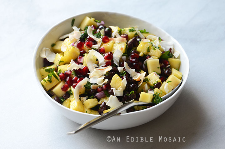 Pineapple Black Bean Salad with Pomegranate Arils and Coconut Chips {Vegan} 3