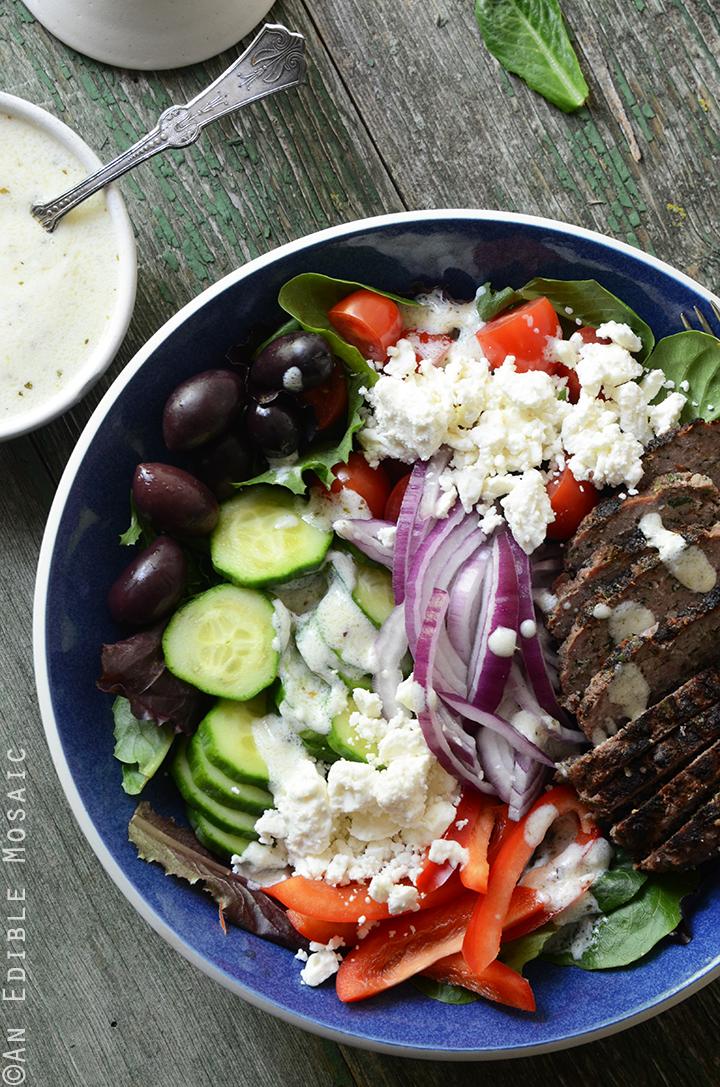 Greek Salad Bowls with Spiced Lamb Burgers