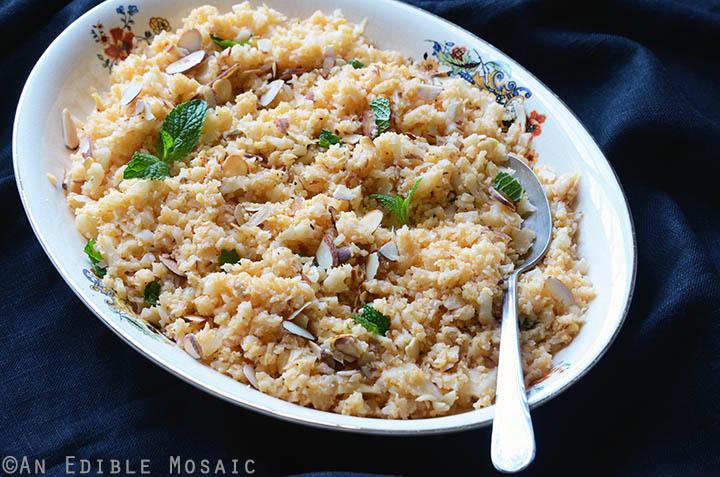 "Smoky Roasted Garlic Cauliflower ""Rice"" with Toasted Almonds {Paleo} 4"