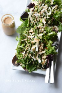 Spring Mix and Roasted Green Bean Salad with Creamy Maple-Miso Dressing