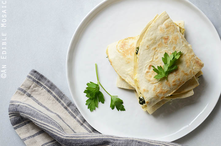 Cheesy Kale-Artichoke Quesadillas {Lactose-Free; Gluten-Free Option} 4