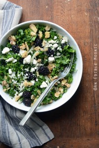 Blackberry and Toasted Walnut Kale Salad with Goat Cheese