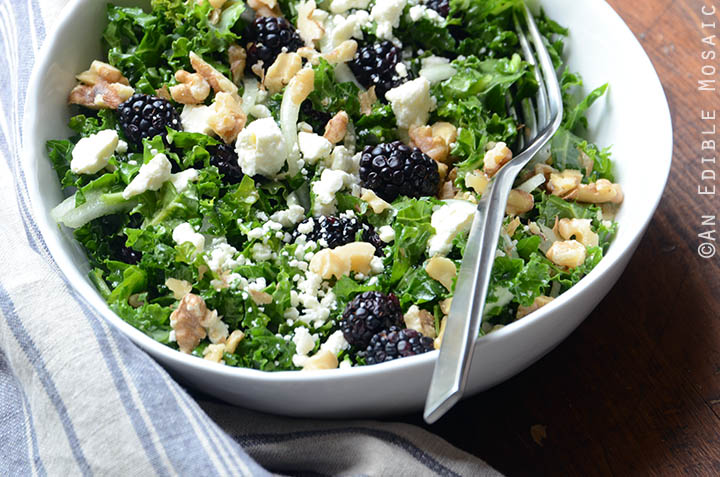 Blackberry and Toasted Walnut Kale Salad with Goat Cheese 5
