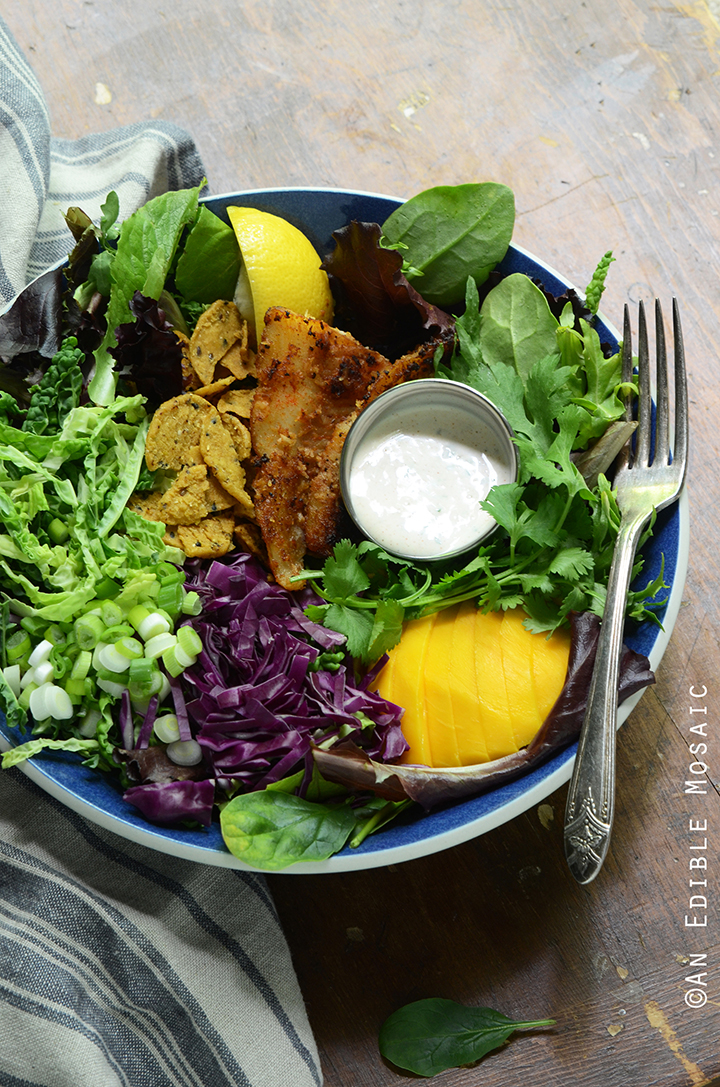 Coconut-Crusted Fish Taco Salad with Fresh Mango and Creamy Cilantro Dressing
