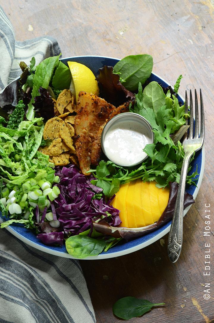Coconut-Crusted Fish Taco Salad with Fresh Mango and Creamy Cilantro Dressing