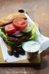 Spanakopita Turkey Burgers with Easy Homemade Tzatziki Sauce