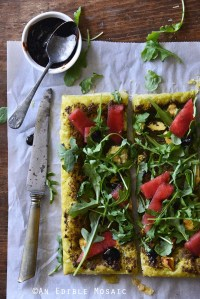 Garlic and Chive Goat Cheese and Pesto Puff Pastry Tart with Arugula, Watermelon, and Strawberry-Balsamic Drizzle Top View