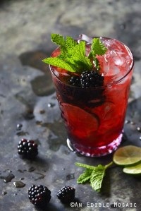 Blackberry Syrup, Mint, and Lime Spritzers on Metal Tray Front View
