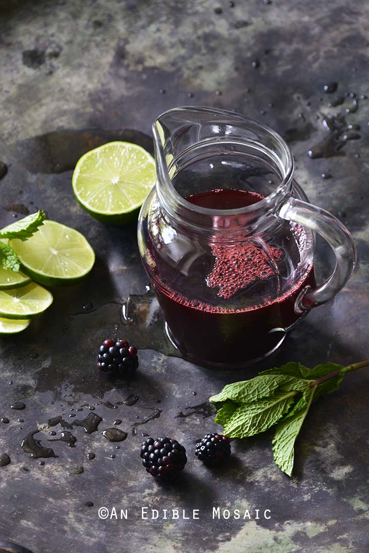 Blackberry Syrup with Fresh Mint and Lime
