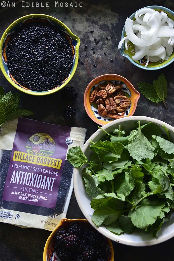 Ingredients to Make Vegan Herbed Black Rice, Black Lentils, and Black Quinoa Pilaf Salad Bowls with Blackberries