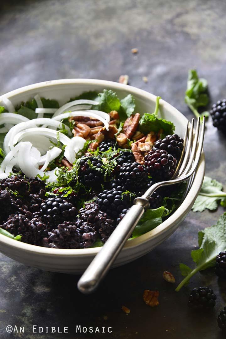 Vegan Herbed Black Rice, Black Lentils, and Black Quinoa Pilaf Salad Bowls with Blackberries on Weathered Metal Background Front View