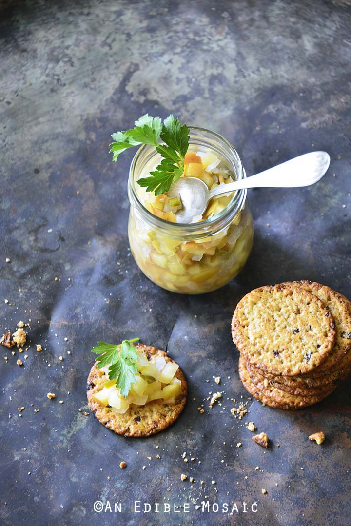 Easy Apple Jalapeno Relish with Crackers on Metal Background