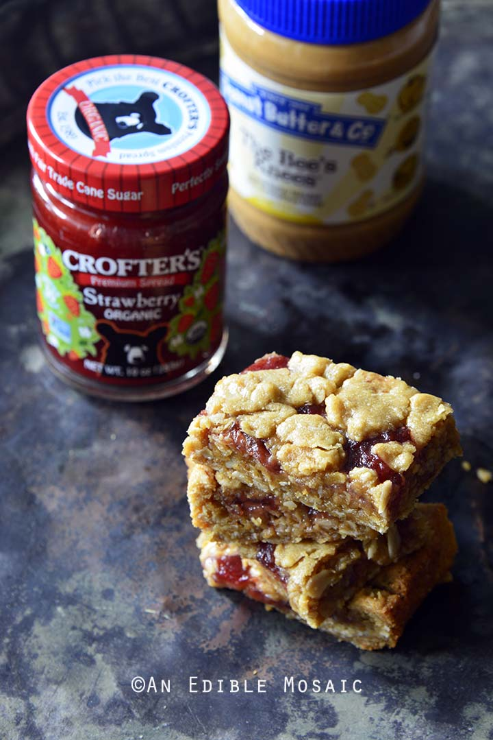 Crumble-Topped Peanut Butter & Co. Peanut Butter Strawberry Jam Bars with Peanut Butter and Strawberry Spread