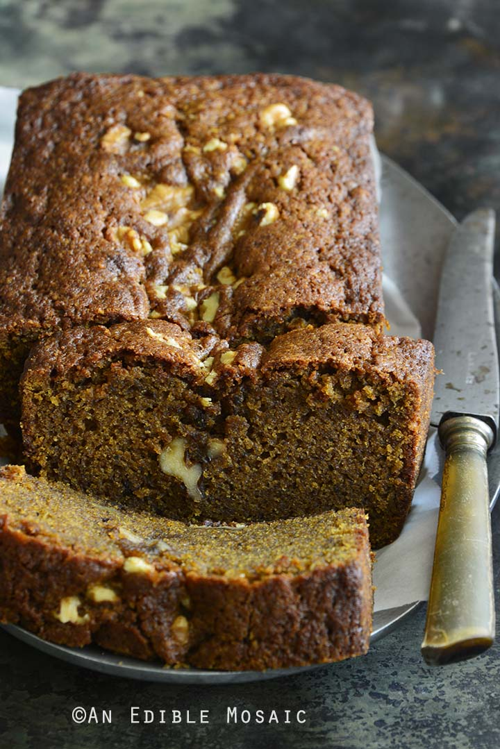 Chai-Spiced Brown Butter Pumpkin Walnut Loaf Cake Close Up Showing Texture