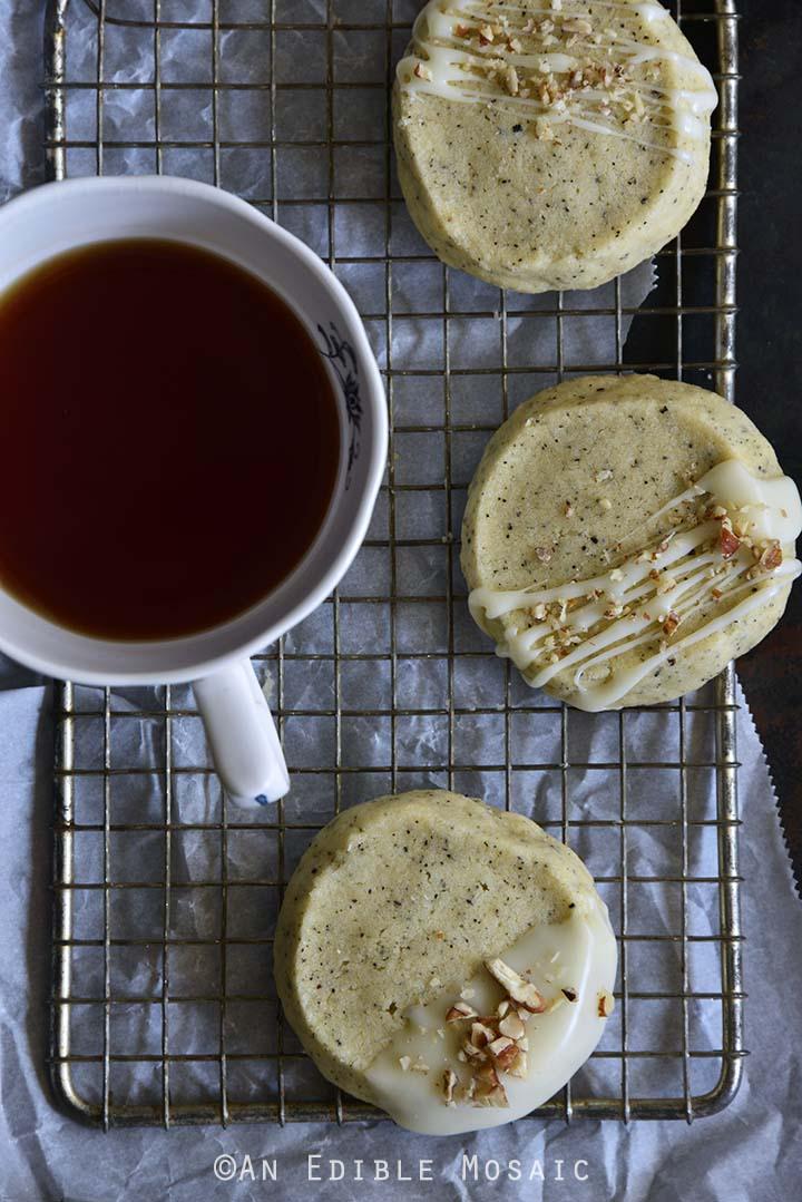 Chai-Spiced Vanilla Shortbread Cookies Top View Vertical Orientation