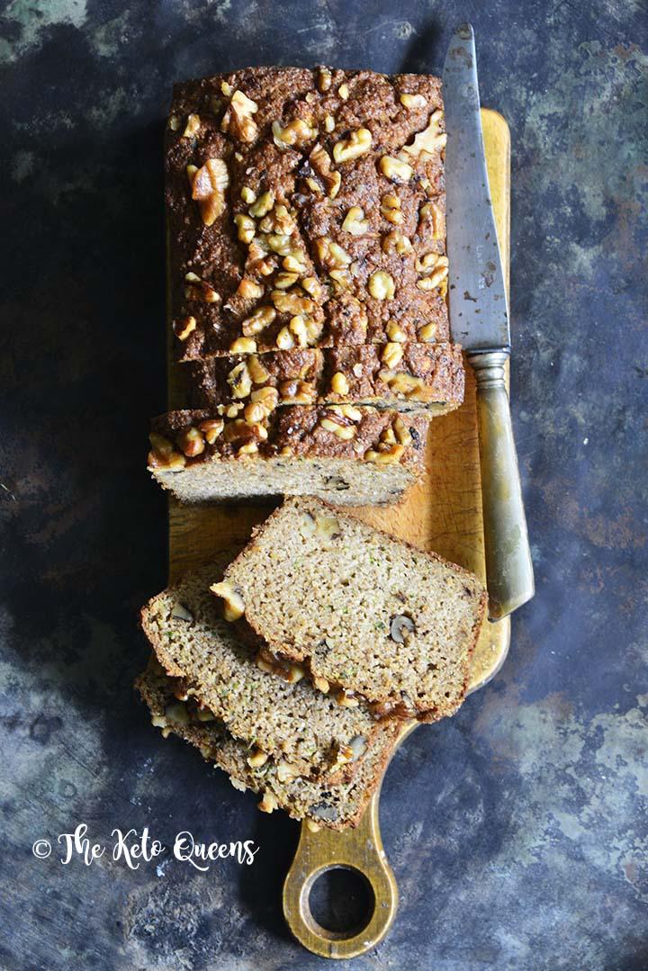 Keto Zucchini Walnut Spice Bread