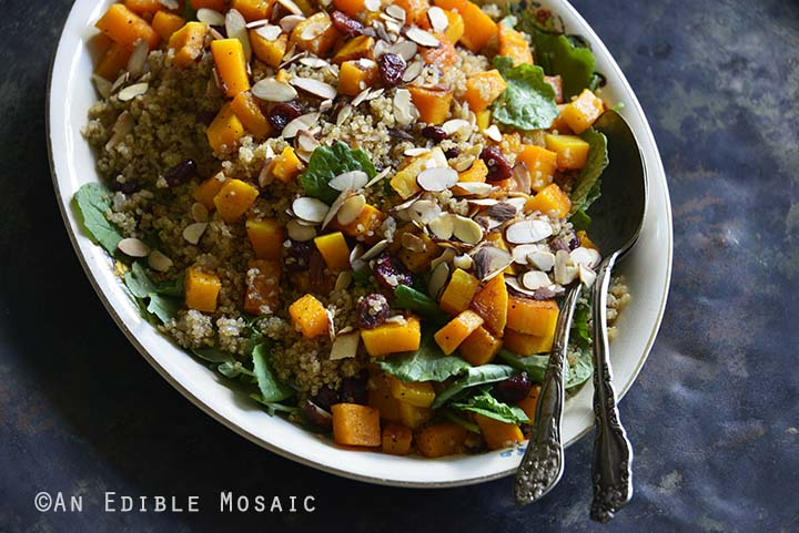 Sweet and Savory Quinoa Pilaf with Cranberries, Roasted Butternut Squash, and Toasted Almonds on Metal Tray Horizontal Orientation