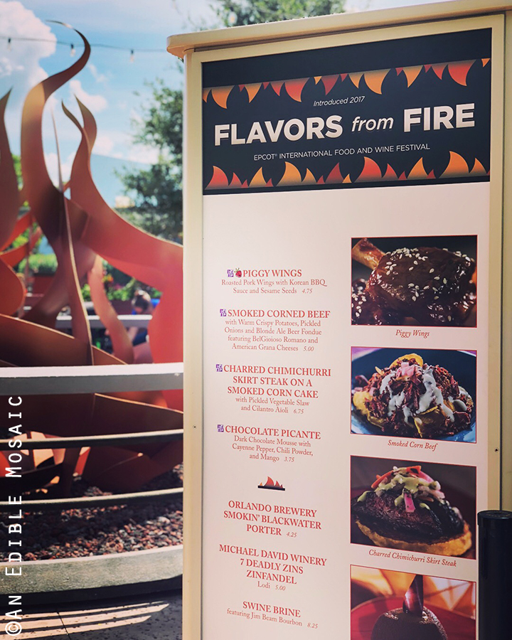 flavors from fire kiosk at the epcot food and wine fesstival