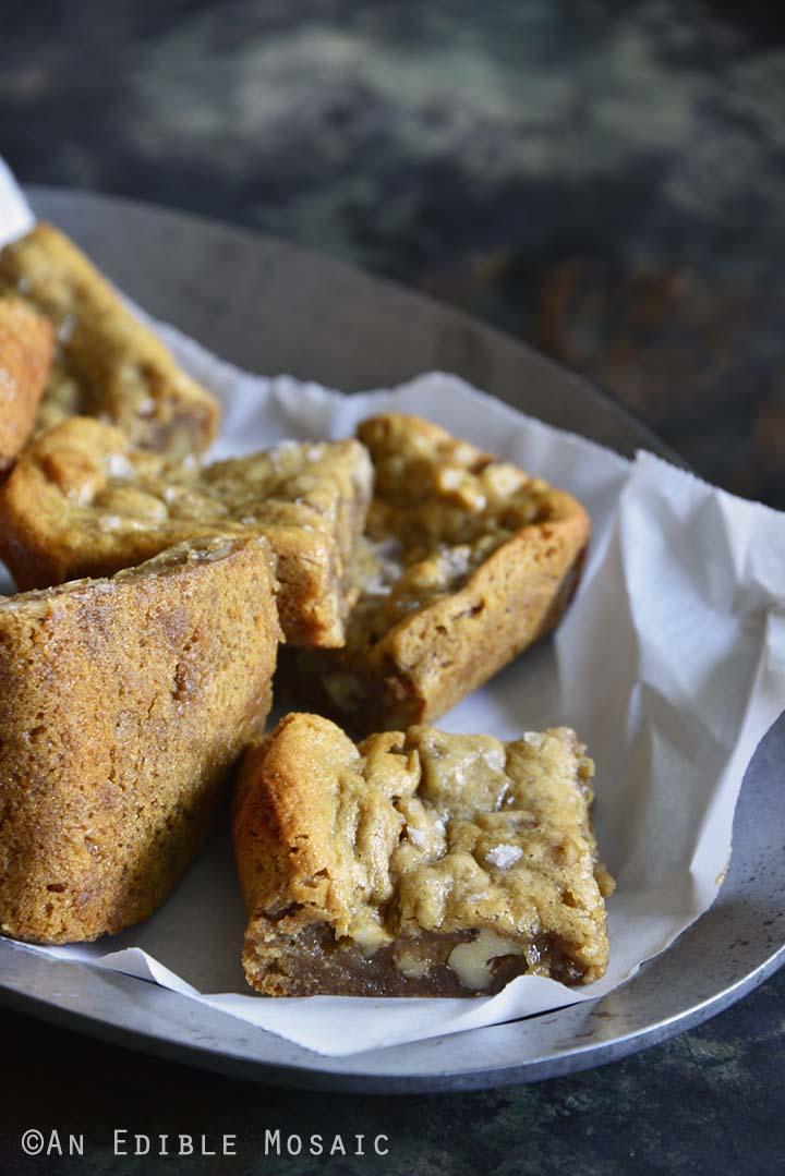 Flourless Pecan Pie Cashew Butter Blondies Side View Showing Texture of Blondies