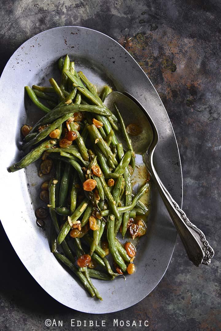 Green Beans with Garlic and Golden Raisins Close Up