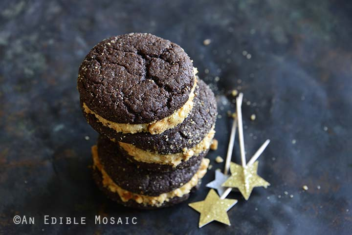 Chocolate Whoopie Pies with Maple Brown Butter Frosting and Hazelnut Caramel Crunch Side View Horizontal Orientation