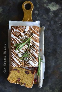 Christmas Morning Cornbread Loaf Cake on Wooden Cutting Board