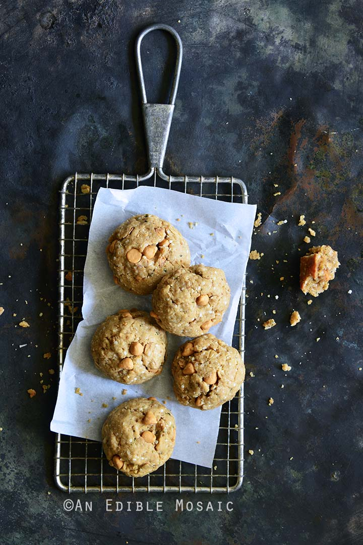 Coconut Butterscotch Granola Cookies Overhead View on Cooling Rack