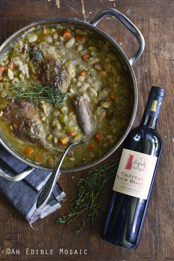 Pot of Cassoulet and Wine Overhead View