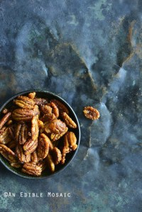 Sweet and Spicy Buffalo Buttered Pecans on Metal Tray