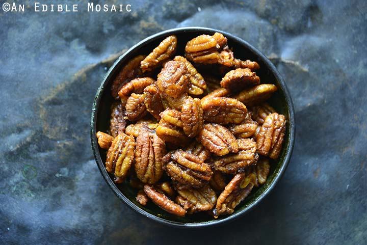 Sweet and Spicy Buffalo Buttered Pecans Close Up