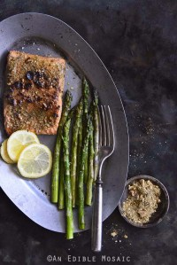 Dukkah-Crusted Blackened Salmon on Vintage Tray