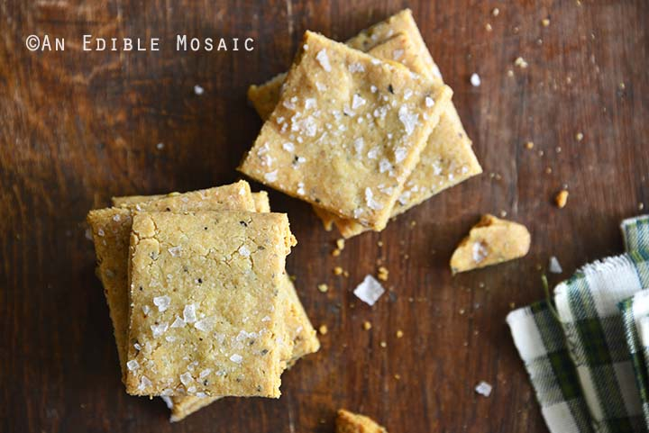 Gluten Free Savory Parmesan-Garlic Crackers Top View Horizontal Orientation