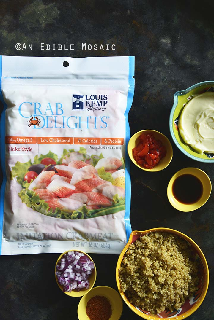 Ingredients for Old Bay Roasted Red Pepper Quinoa Seafood Cakes